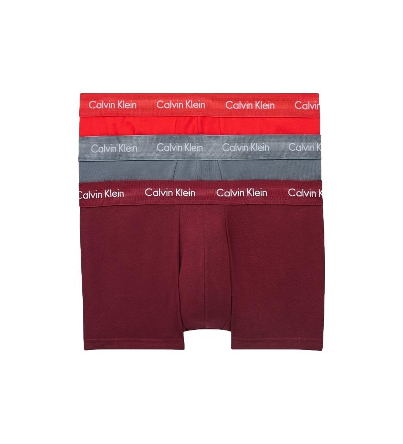 Comprar Calvin Klein Pacote de 3 Boxers Low Rise 0000U2664G vermelho, castanho, cinzento