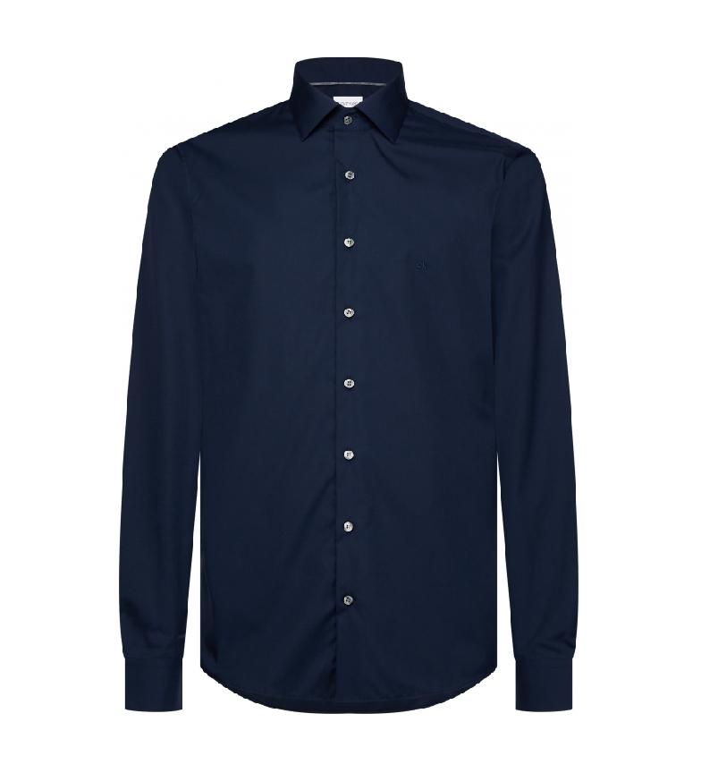 Calvin Klein Camisa ajustada de popelín de algodón azul