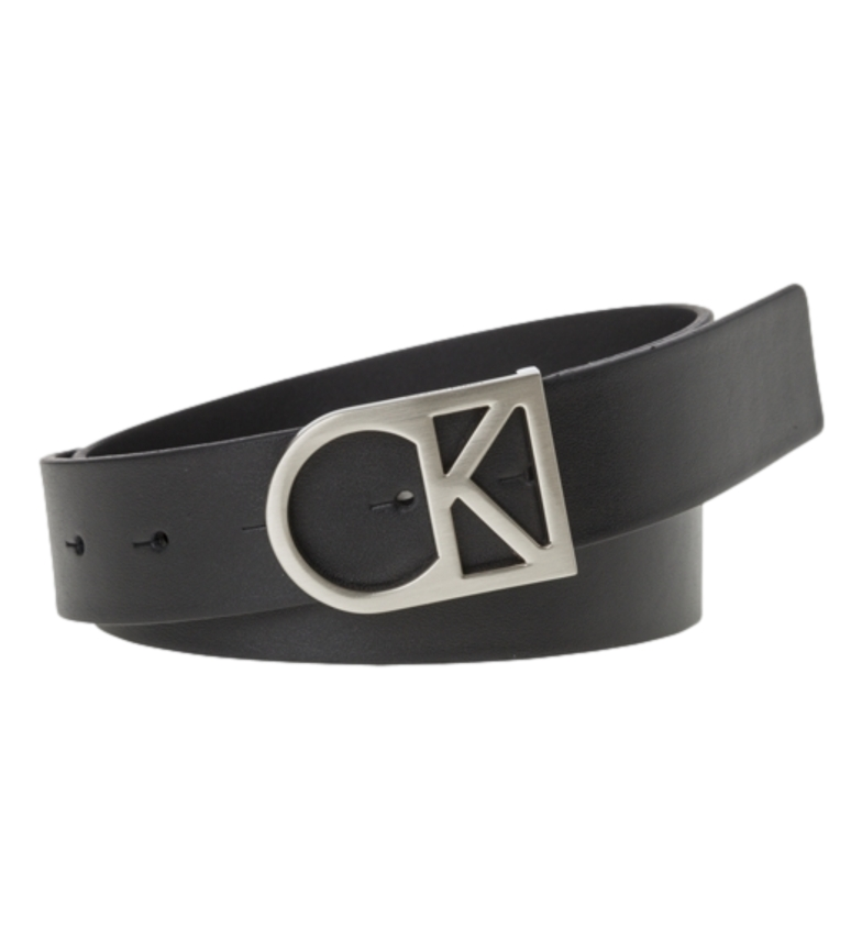 Calvin Klein Leather belt Logo Belt black -wide, 3,5