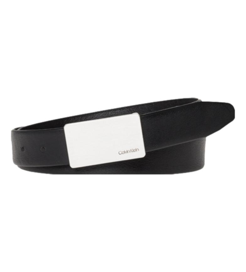 Calvin Klein Cinturón de piel Plaque Belt negro -ancho 3,5cm-