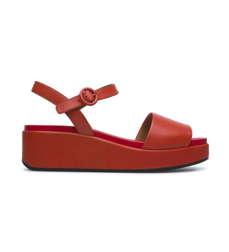 Comprar CAMPER Sandálias de couro vermelho Misia -Cunha de altura: 5,7 cm