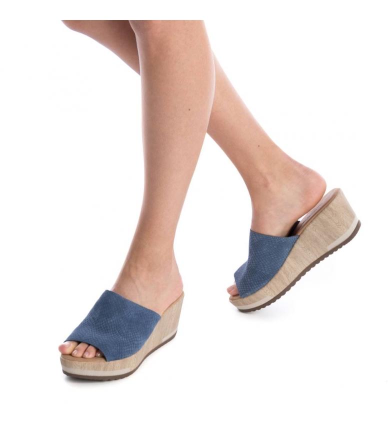 Zuecos Carmela jeans Altura cuña de Carmela piel Zuecos 7cm RExwqfAn