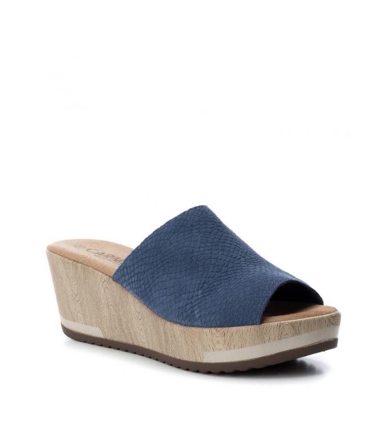Altura piel cuña 7cm Zuecos de jeans Carmela fqxgvIE
