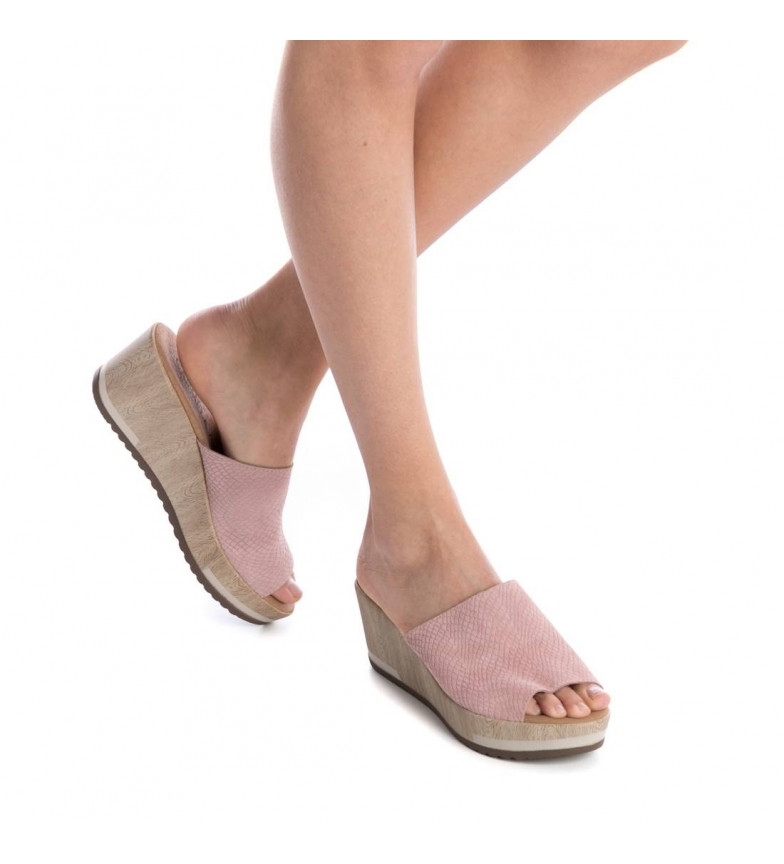 Carmela Altura Zuecos 7cm de cuña Carmela Zuecos rosa piel CxPqE5tYw