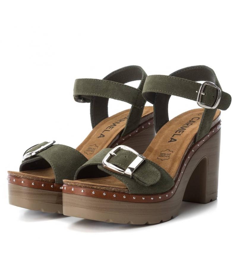 Carmela kaki de Altura piel Sandalias 10cm tacón wqwFr0t