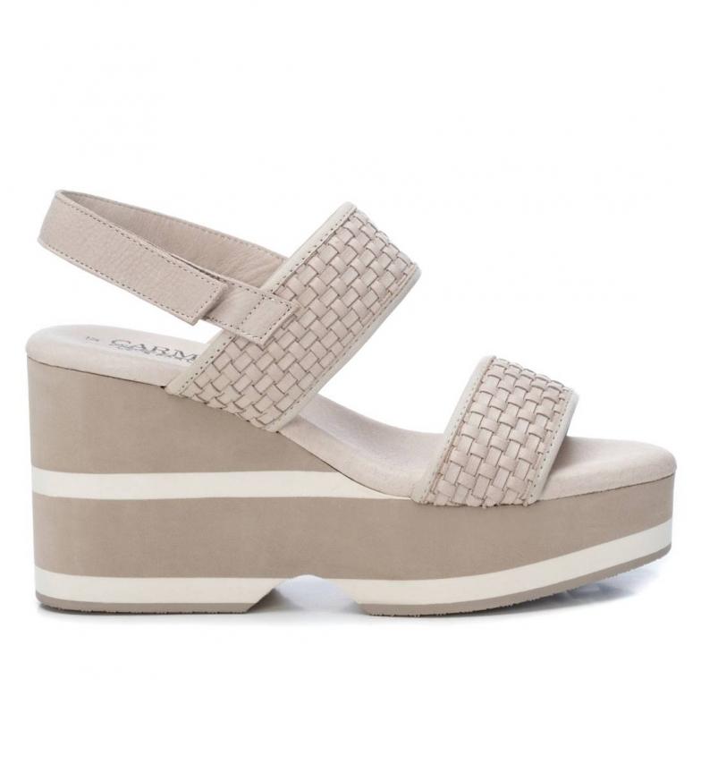 Comprar Xti Sandales en cuir 067157 blanc -Hauteur du talon : 10 cm- -Sandales en cuir 067157 blanc -Hauteur du talon : 10 cm-.