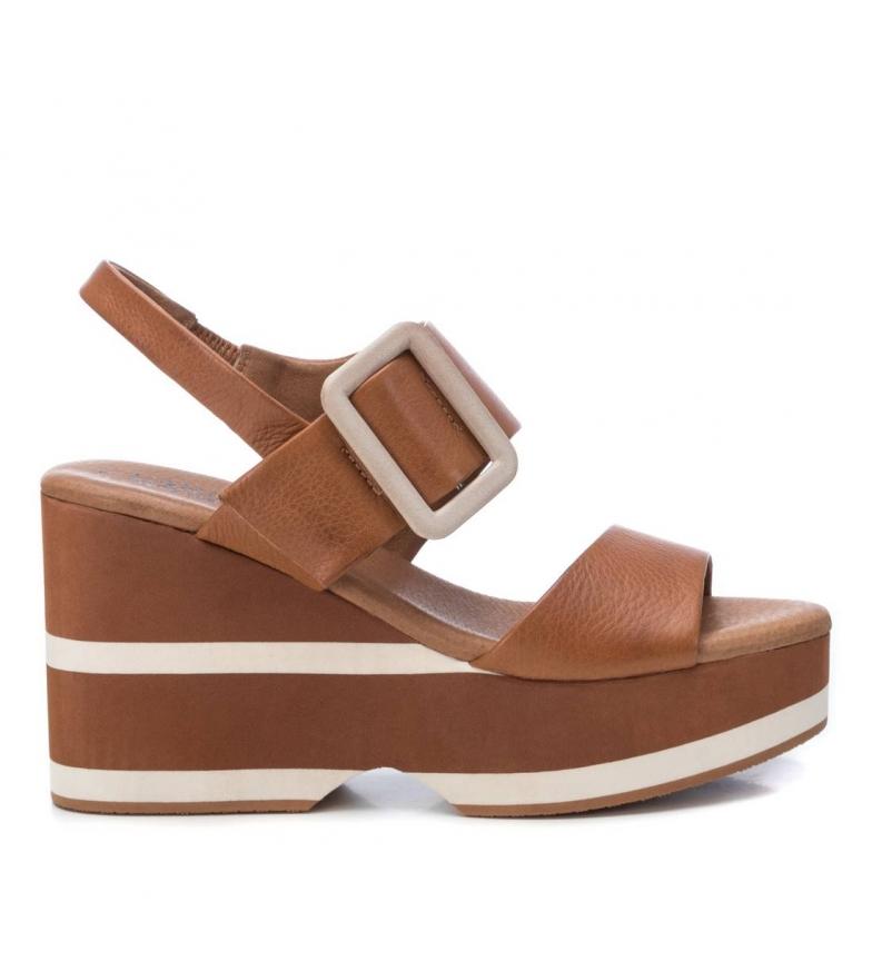 Comprar Carmela Leather sandals 067160 camel - wedge height:10cm