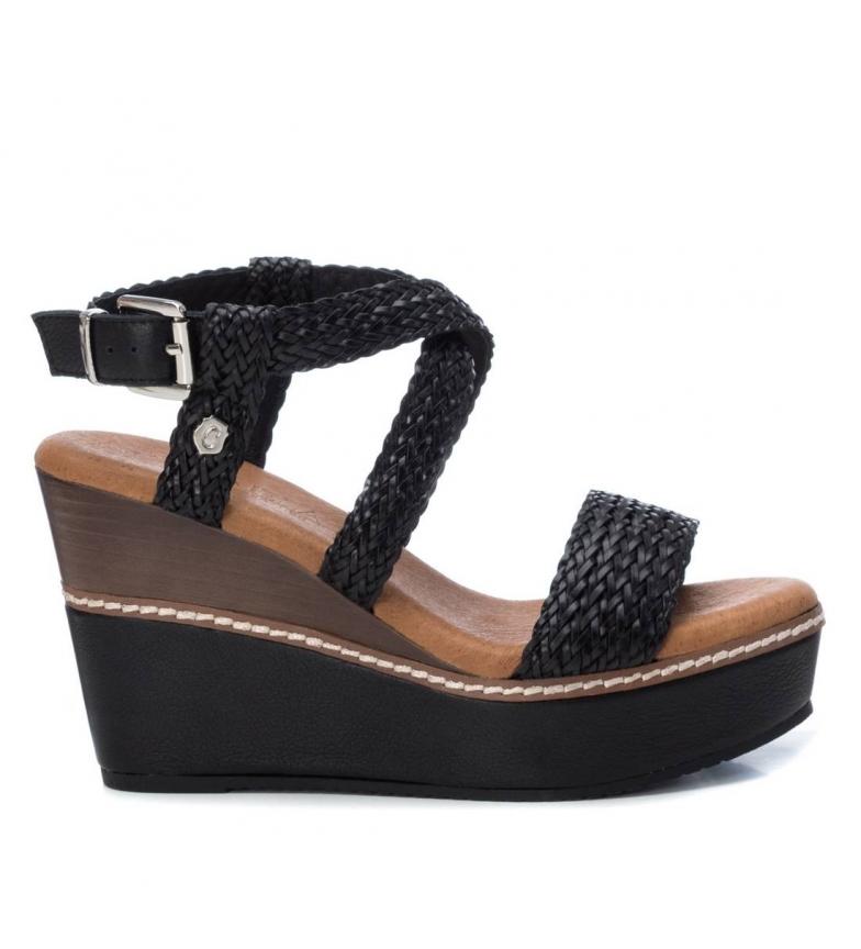 Comprar Carmela Sandalias de piel 067173 negro -Altura cuña:10cm-