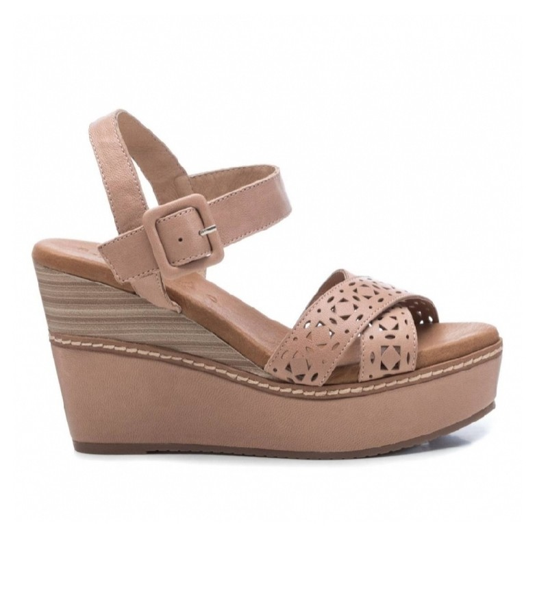 Comprar Carmela Leather sandals 067243 beige - Platform wedge height: 10cm