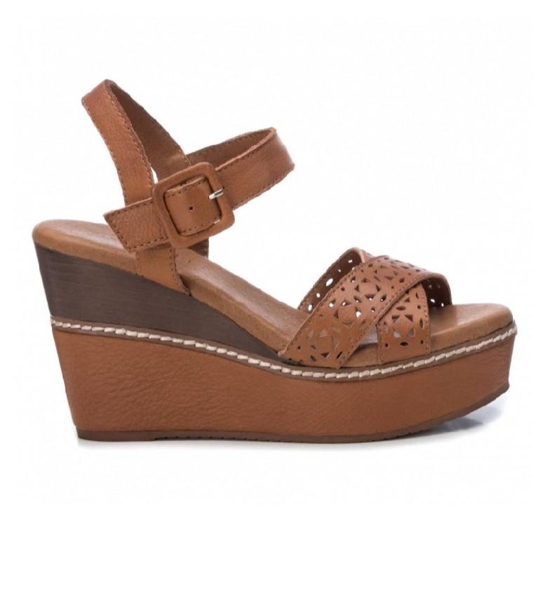 Comprar Carmela Sandalias de piel 067243 camel -Altura cuña+plataforma: 10cm-