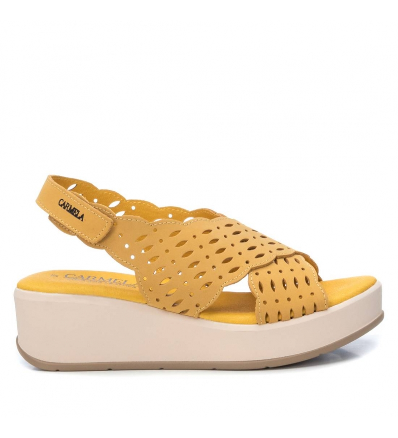 Comprar Carmela Sandali in pelle 067276 giallo - Altezza zeppa a plateau: 4cm