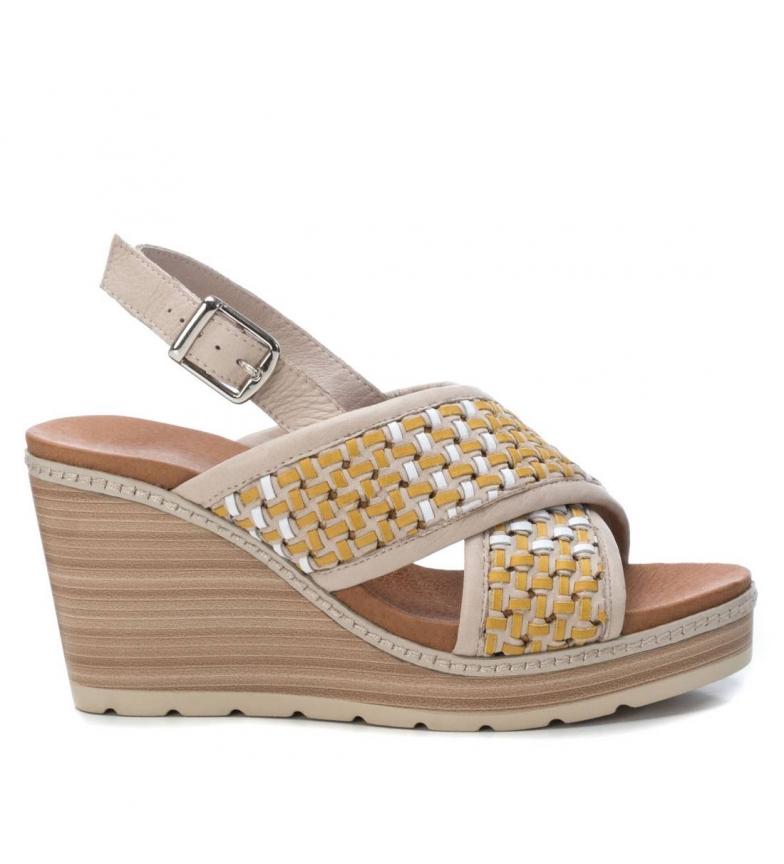 Comprar Carmela Sandalias de piel 067309 amarillo -Altura de la cuña: 9 cm-