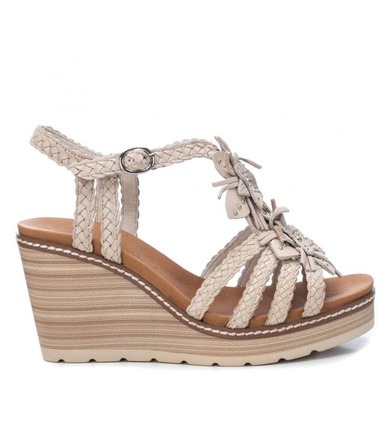 Comprar Carmela Sandalias de piel 067317 beige -Altura cuña: 9cm-