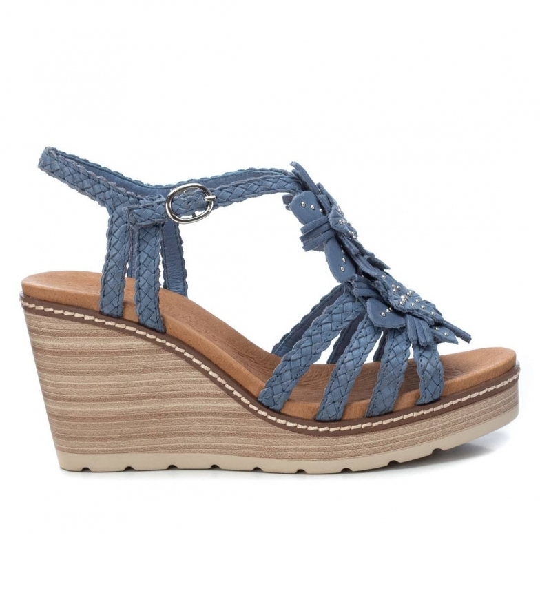 Comprar Carmela Sandalias de piel 067317 azul -Altura cuña: 9cm-
