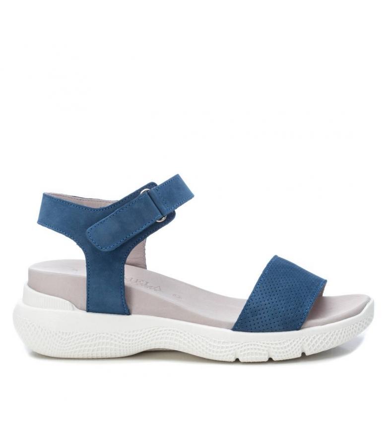 Comprar Carmela Sandales en cuir 067345 bleu - hauteur de la cale : 5cm