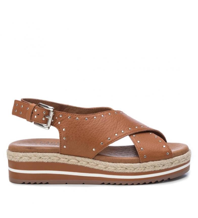 Comprar Carmela Sandalias de piel 067357 marrón -Altura cuña + plataforma:  5cm-