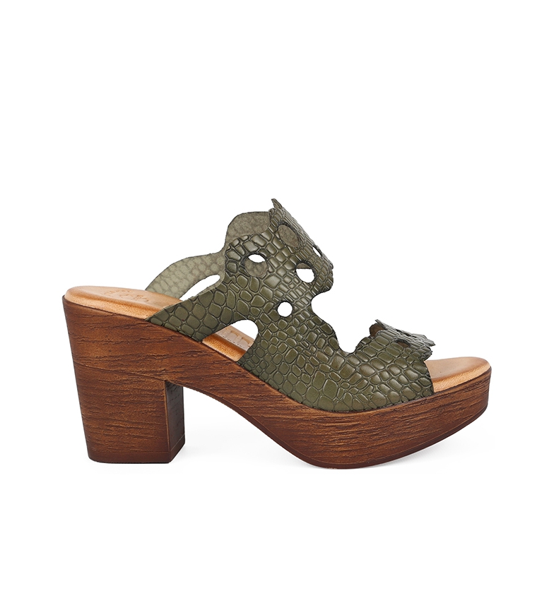 Comprar Chika10 Alois 2061 khaki leather sandals -Heel height: 8cm