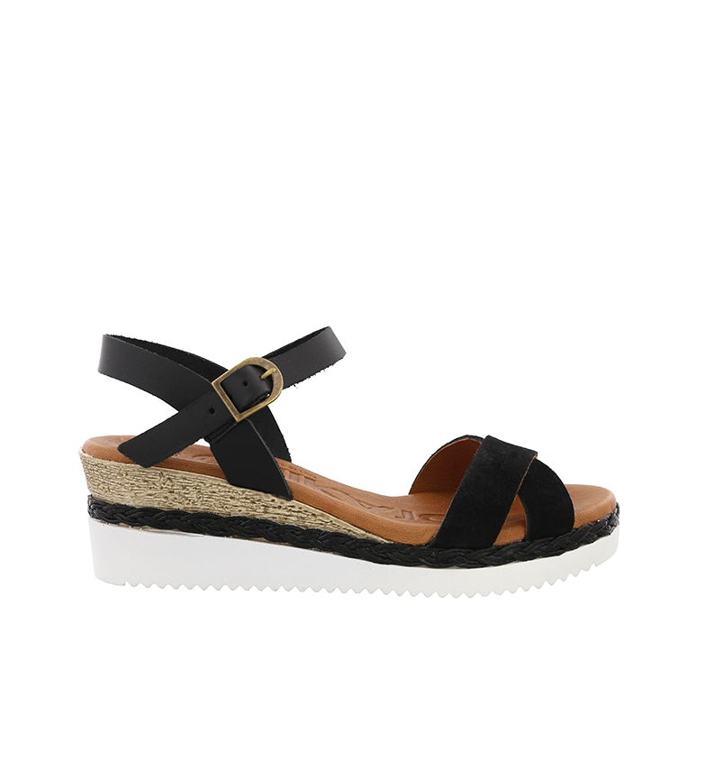 Comprar Chika10 Leather sandals Becky 01 black - wedge height: 6cm