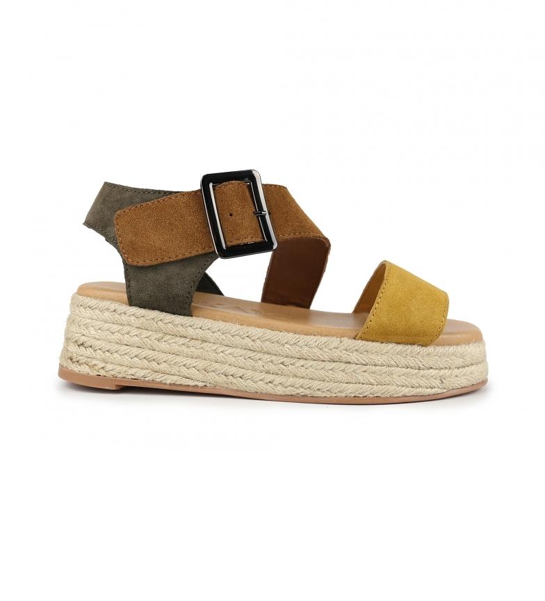 Chika10 Sandalias de piel Bonita 03 multicolor