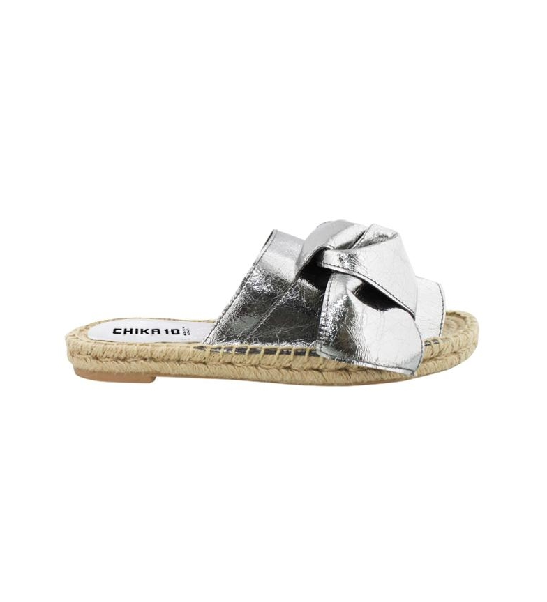 Sandalias plata de 01 piel Chika10 Mediterráneo Bio w4qxdO