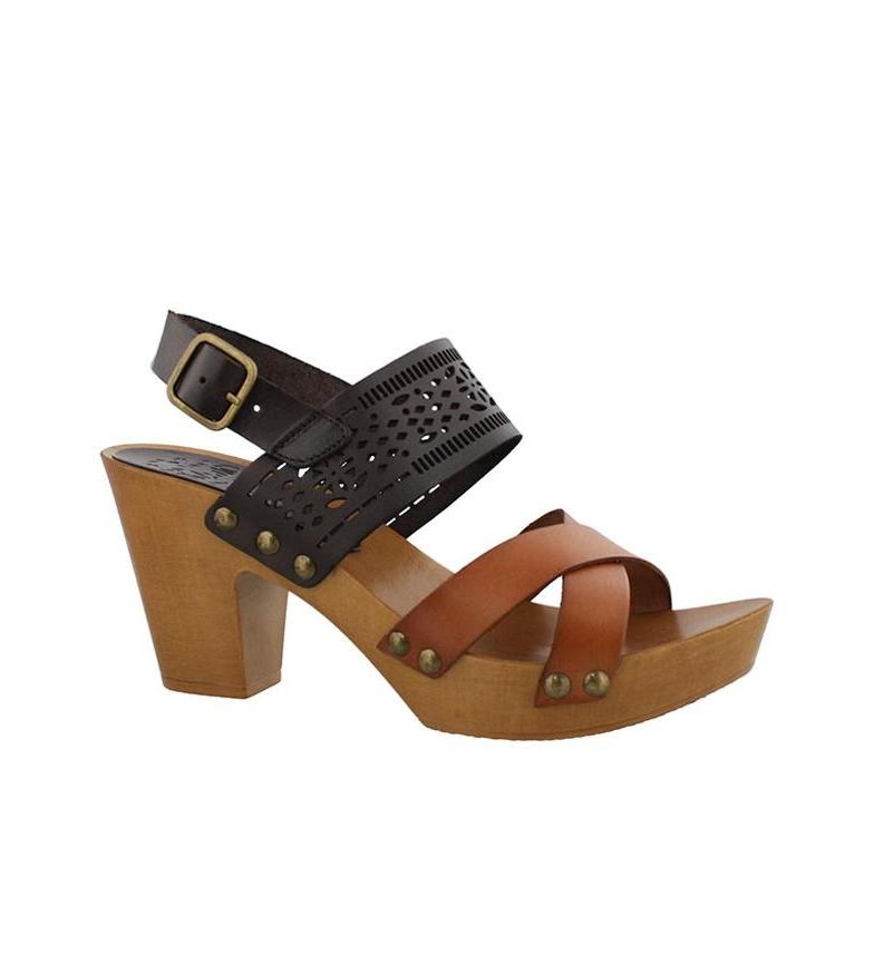 Sandalias 9cm marrón Florida Altura 03 tacón de piel Chika10 aZdy1n6qa