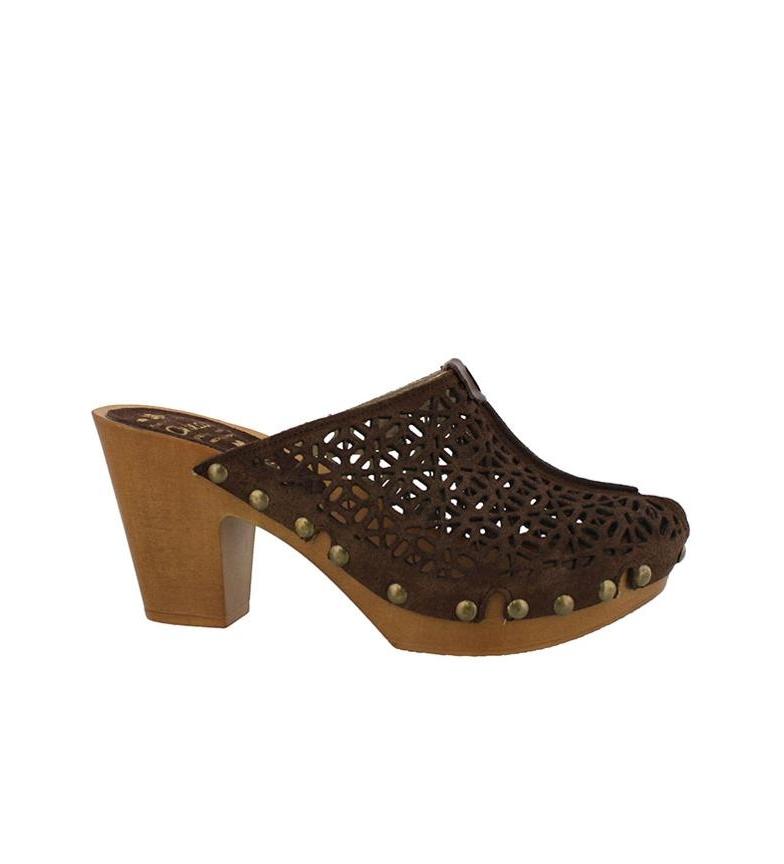 marrón Chika10 Altura Zuecos de piel Florida tacón 01 9cm PwqPf