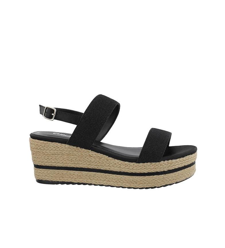 Altura 7cm Chika10 Dona 01 negro cuña Chika10 Sandalias Sandalias Yq6d8w8