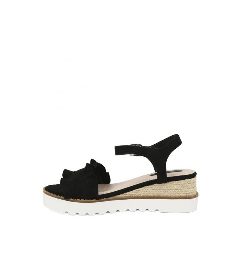 Sandalias cuña 01 negro 6cm Chika10 Altura Aitana 0XnBd1x1