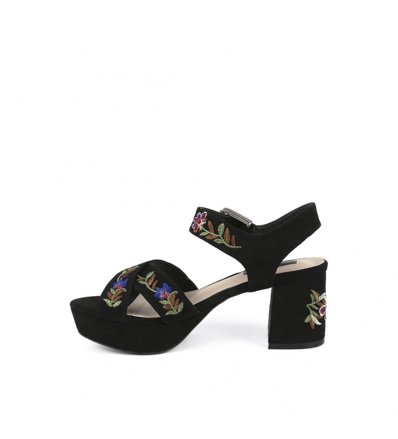 Chika10 Sandalias New Cloe 03 negro Altura tacón+plataforma: 7,5 cm