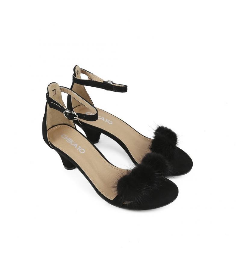 Sandalias Altura 4cm Sandalias negro Chika10 Pompeta 01 01 tacón negro Chika10 Pompeta 7wHBqEqT