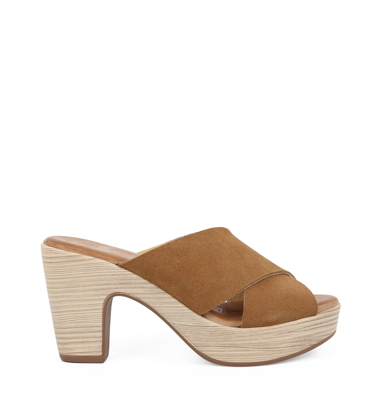 Comprar Chika10 Leather clogs Softy 03 leather -heel height: 9 cm