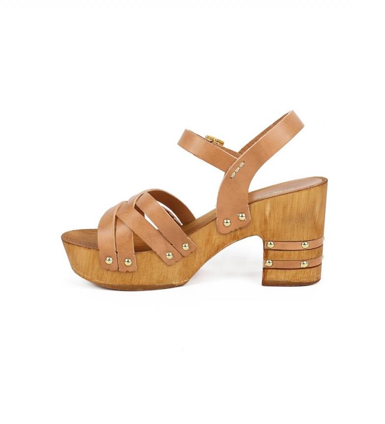 Comprar Chika10 Venezia 03 leather sandals natural -heel height: 7,5cm