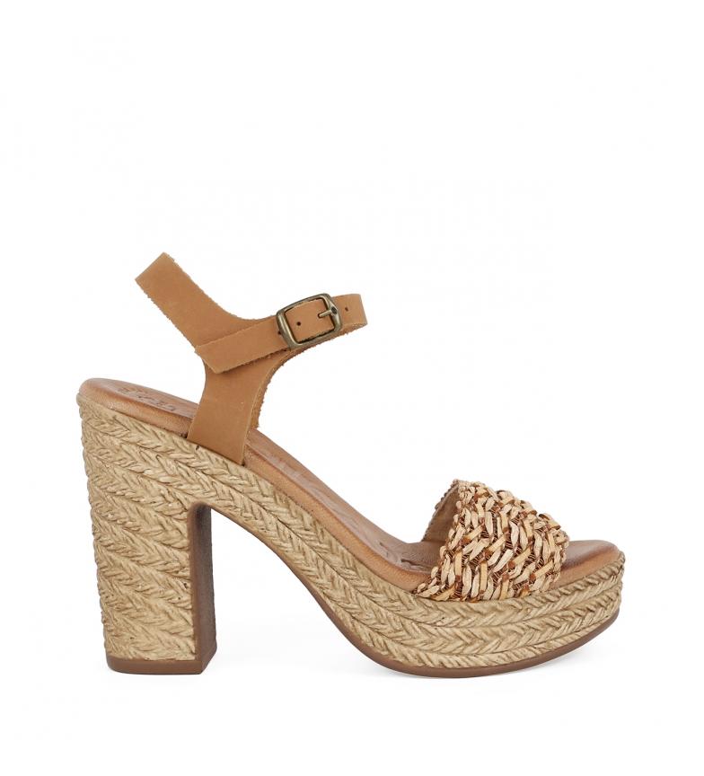 Comprar Chika10 Leather sandals Bevel 03 natural -heel height 11,5cm
