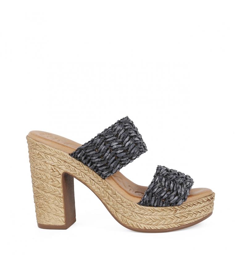 Comprar Chika10 Bevel 02 leather sandals black - Heel height: 11,5cm