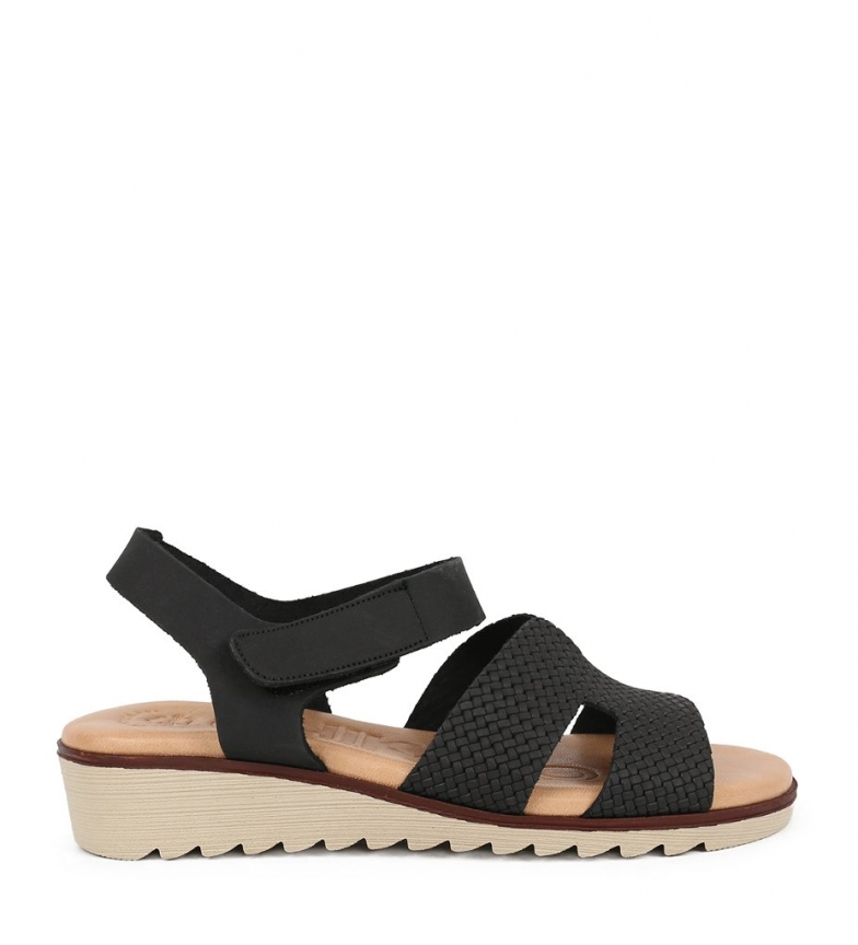 Comprar Chika10 Philippines 07 black leather sandals - Wedge height: 3.5cm