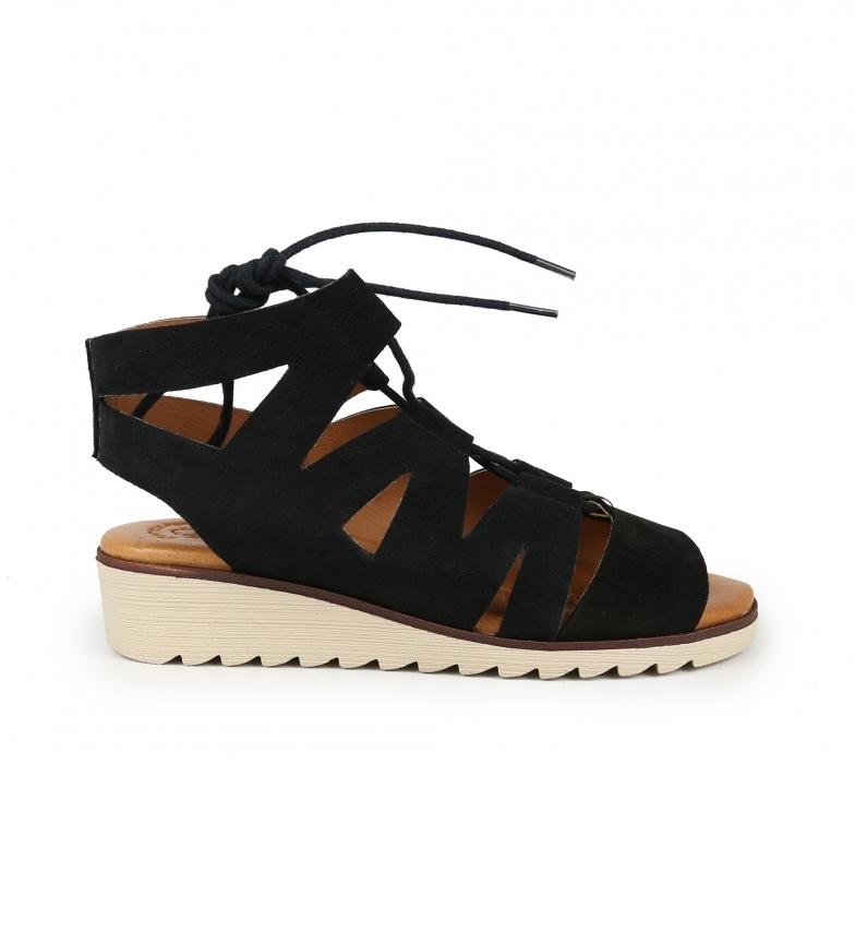 Comprar Chika10 Filippine 13 sandali in pelle nera -Atura zeppa + piattaforma: 4cm-
