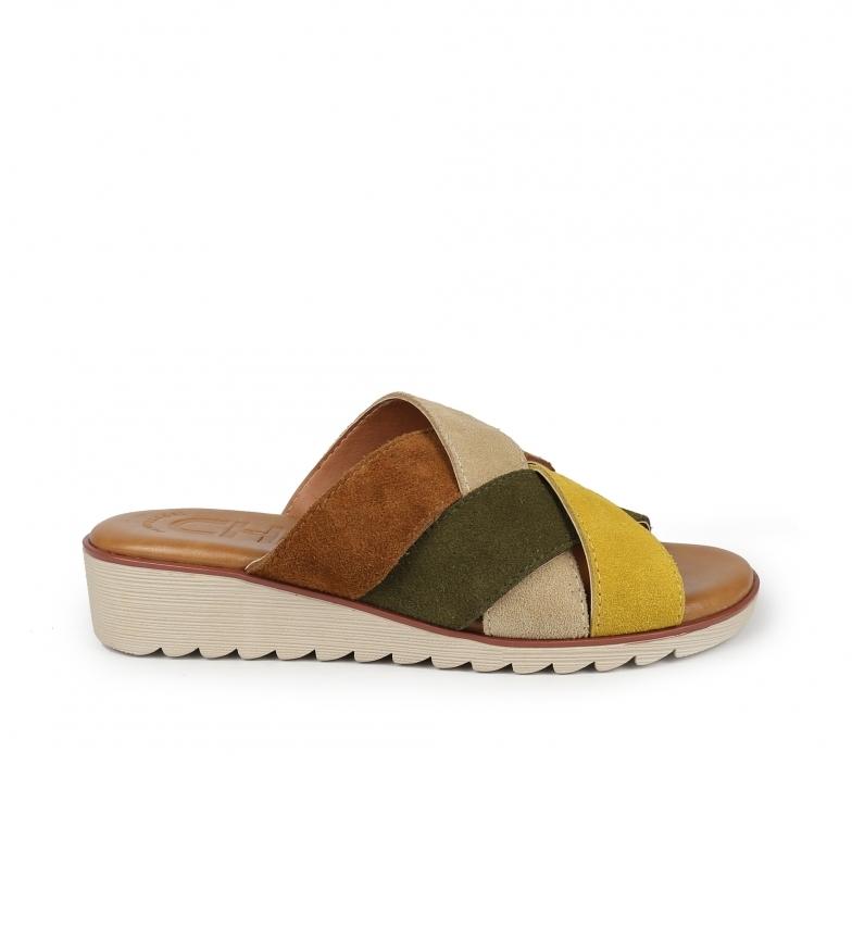 Chika10 Sandálias de couro Novas filipinas 05 multicor