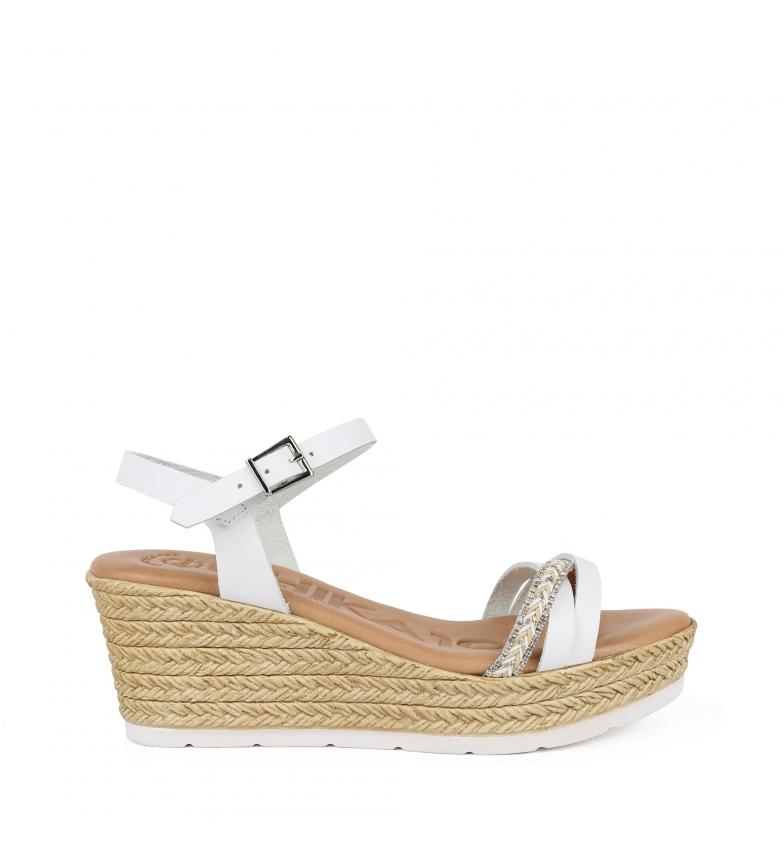 Comprar Chika10 Leblon 03 sandalo in pelle bianca - altezza zeppa: 7cm