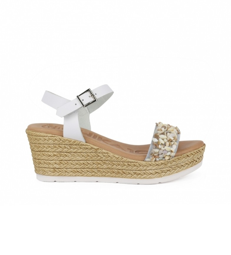 Comprar Chika10 Leblon 04 sandalo in pelle bianca - Altezza zeppa: 7cm