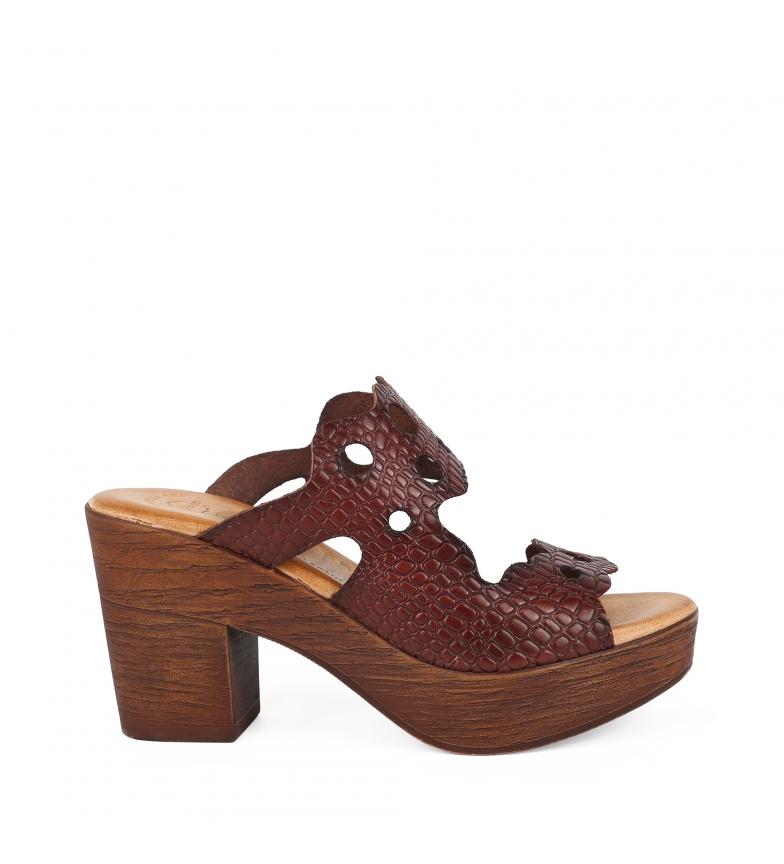 Comprar Chika10 Sandalias de piel Alois 2061 marrón -Altura tacón: 8cm-