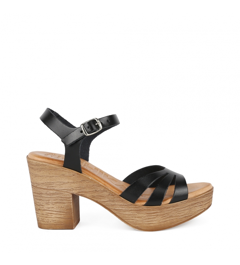 Comprar Chika10 Alois 4292 black leather sandals -Heel height: 8cm