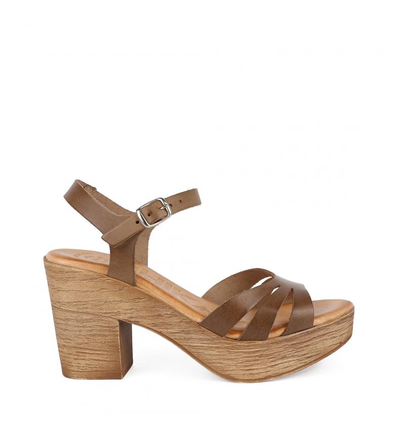 Comprar Chika10 Alois 4292 sandali in pelle taupe - Altezza tacco: 8cm