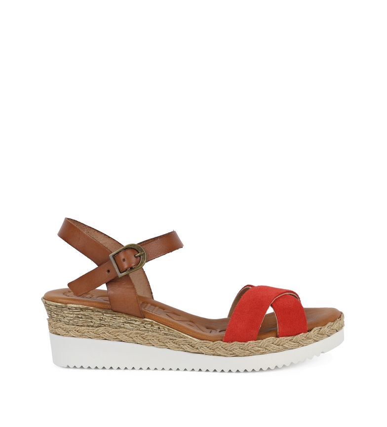 Comprar Chika10 Leather sandals Becky 01 coral - Wedge height: 6cm