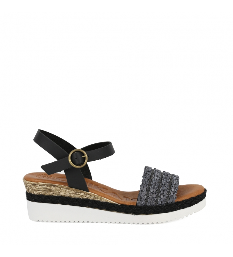 Comprar Chika10 Leather sandals Becky 03 black - Wedge height: 6cm