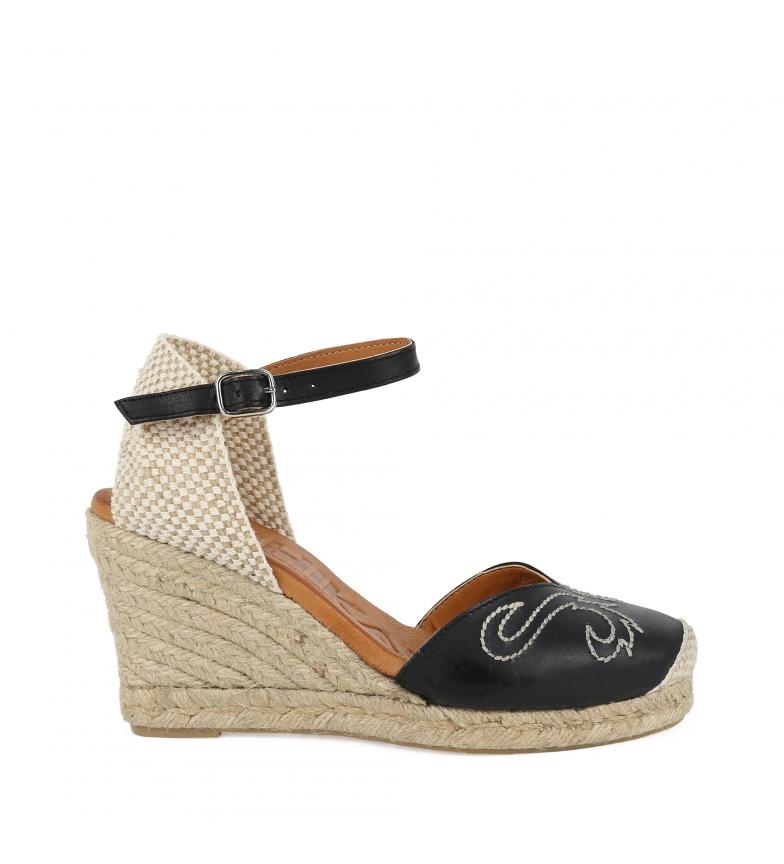 Comprar Chika10 Paita 04 sandales en cuir noir - hauteur de la cale : 8cm