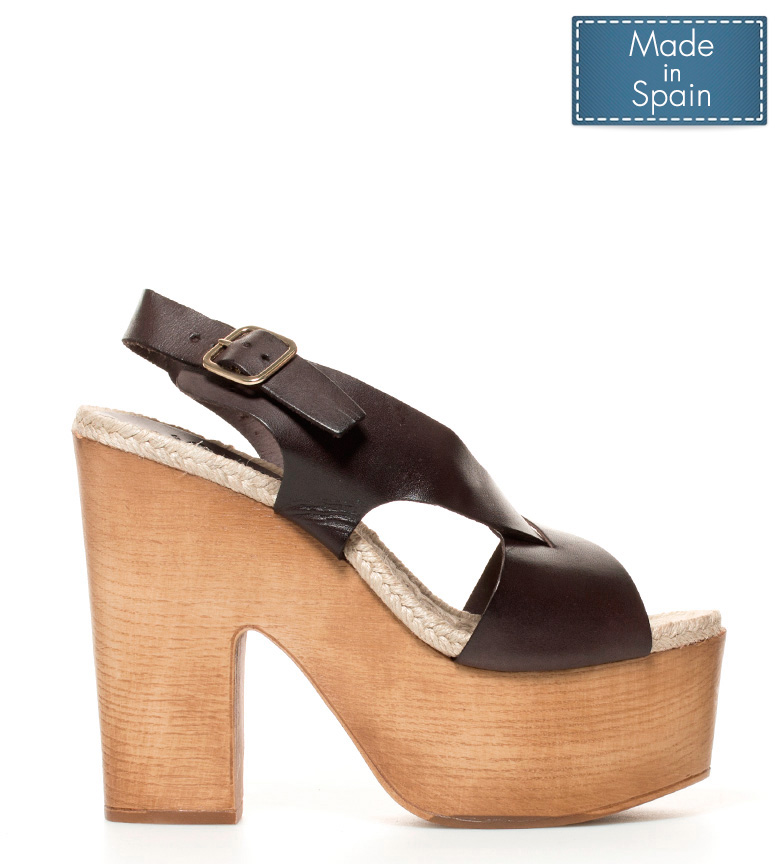 Comprar Chika10 Leather Sandals Russia 02 Chocolate-High Heel + Platform: 14,5cm-