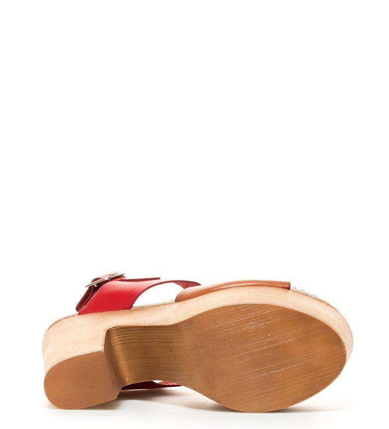5cm 14 plataforma cuero piel br de Sandalias Rusia br Chika10 Altura tacón 04 rojo YnOxR