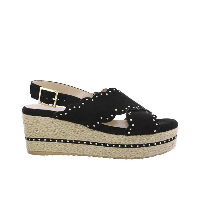 Comprar Chika10 Dona 10 Sandales noires - Hauteur de la cale : 7cm