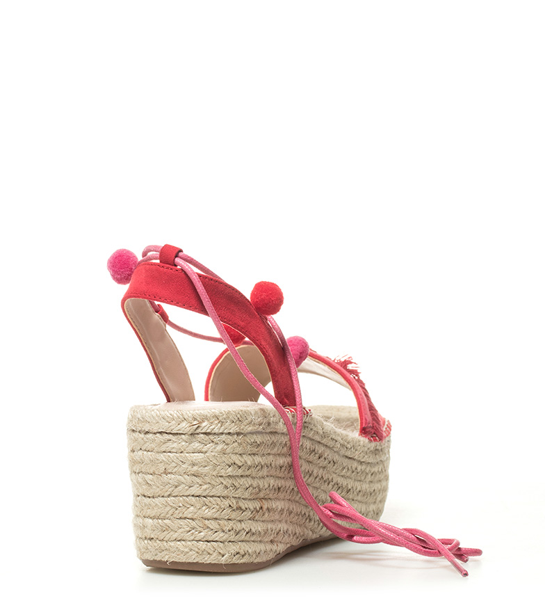 cuña Sandalias Altura Valeria rojo Chika10 7cm 01 WZnR1Aq