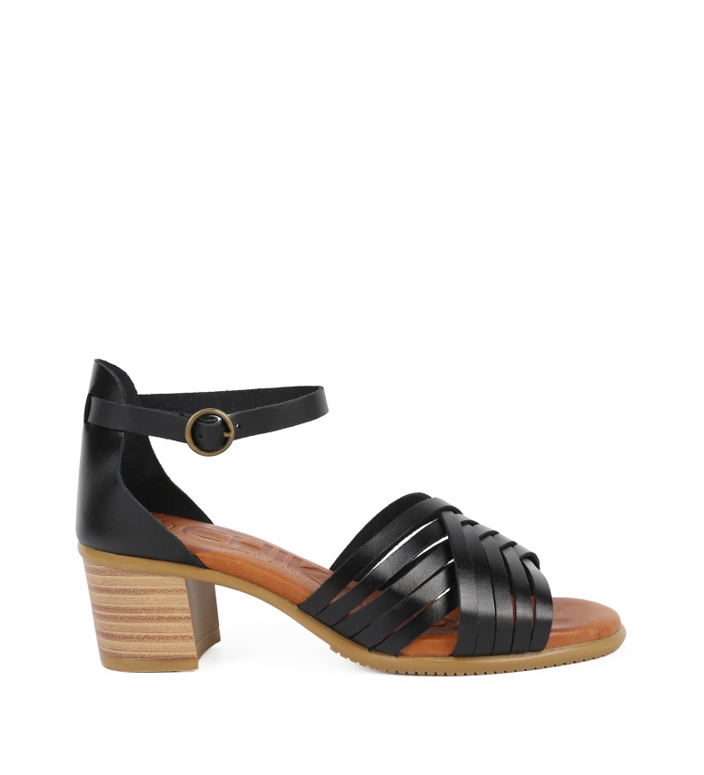 Comprar Chika10 Leather sandals Tivoli 14 black -Heel height: 6cm